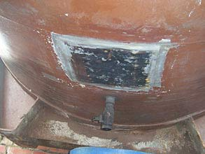 Plate bonded to tank