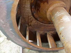 Corroded fan blade at power station in Canada