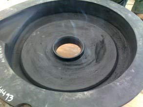 Damaged rubber liner